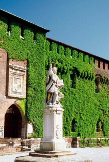 Ivy-covered walls on entrance to Sforzesco Castle, Milan, Italy : Stock Photo