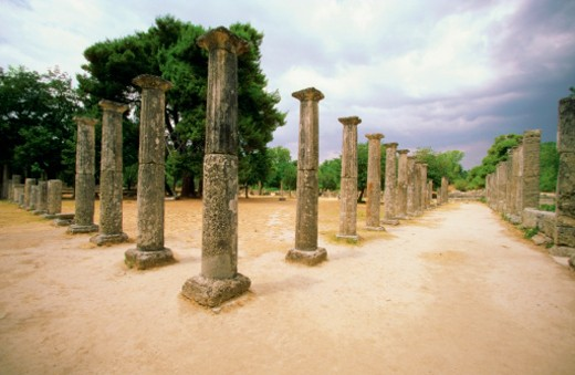 Stock Photo: 1598R-212629 Ruins of old pillars, Olympia, Greece
