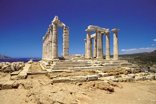 Old pillars of the Temple of Poseidon, Athens, Greece : Stock Photo