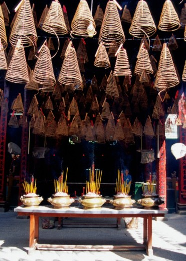 Stock Photo: 1598R-212681 Group of Incense in a store, Thien Hau Temple, Ho Chi Minh City, Saigon, Vietnam