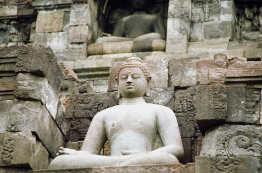 Stock Photo: 1598R-212685 Low angle view of the Statue of Buddha, Borobudur Temle, Java, Indonesia