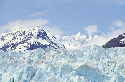 Stock Photo: 1598R-212807 Snow covered mountain peaks, Glacier Bay National Park and Preserve, Alaska, USA