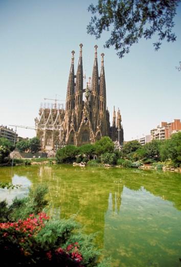 Reflection of a church in water, Sagrada Familia, Barcelona, Spain : Stock Photo