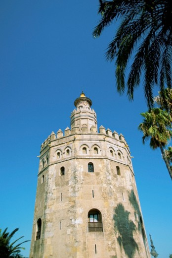 Low angle view of Torre del Oro - Gold Tower, Seville, Spain : Stock Photo