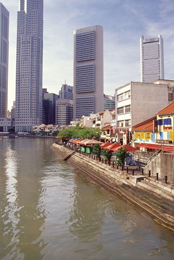 Stock Photo: 1598R-212946 High angle view of the Clarke Quay, Singapore River, Singapore