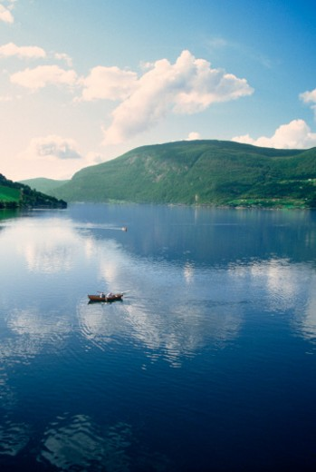 Stock Photo: 1598R-213097 High angle view of a boat in a lake, Nord Fjord, Olden, Sogn Og Fjordane, Norway