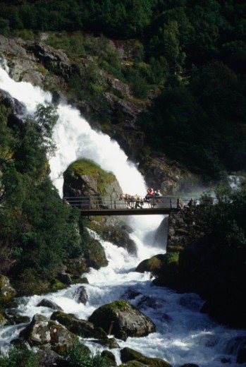 Waterfall in a landscape, Olden, Norway : Stock Photo