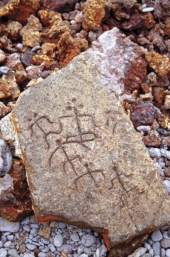 Close-up of a petroglyph, Puukohola Heiau National Historic Site, Hawaii Island, Hawaii, USA : Stock Photo