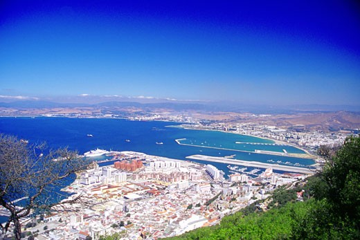 Aerial view of city by the sea, Gibraltar, England : Stock Photo