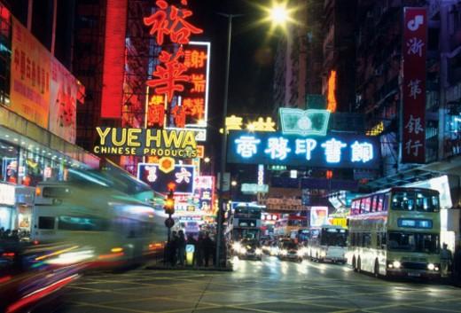 Street signs at night, Hong Kong, China : Stock Photo
