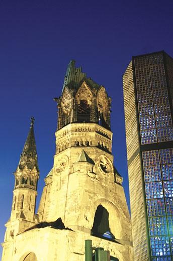 Kurfurstendamm Memorial Church at twilight, Berlin, Germany : Stock Photo