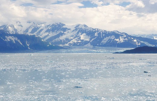 Clouds over Hubbard Glacier, Glacier Bay National Park, Alaska, USA : Stock Photo
