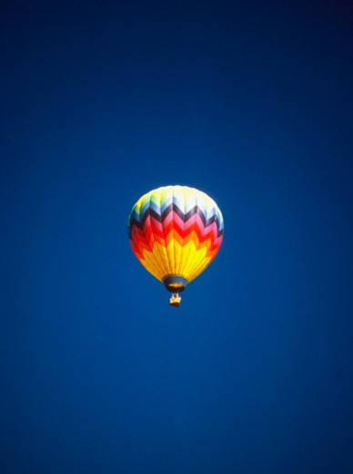 Low angle view of a hot air balloon in the sky : Stock Photo