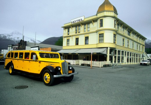 Bus on a street, Skagway, Alaska, USA : Stock Photo
