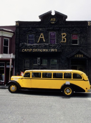 Bus on a street, Skagway, Alaska, USA : Stock Photo