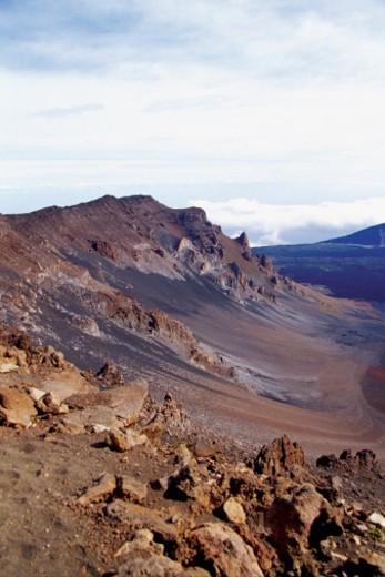 Rocks on a landscape, Haleakala National Park, Maui, Hawaiian Islands, Hawaii, USA : Stock Photo