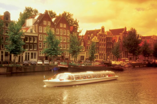 High angle view of a boat in a canal, Amsterdam, Netherlands : Stock Photo