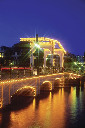 Stock Photo: 1598R-213718 Magere Brug at night, Amsterdam, Netherlands
