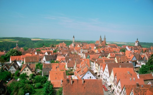 Stock Photo: 1598R-213791 Aerial view of a city, Rothenburg, Germany