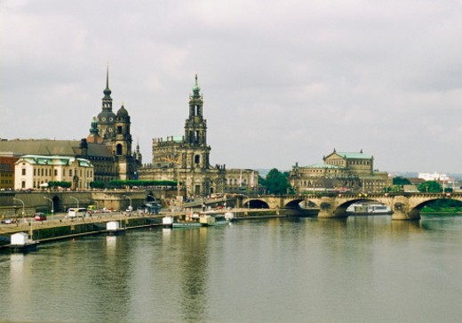 Stock Photo: 1598R-213799 Haussman Tower and Catholic Court Church, Carola Bridge, Elbe River, Dresden, Germany