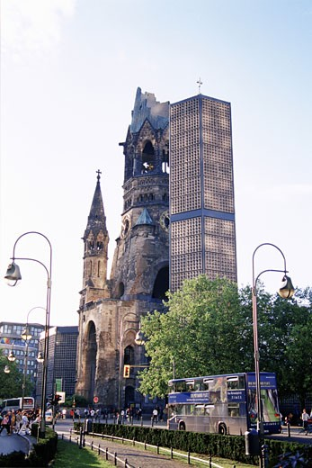 Low angle view of buildings, Kaiser Wilhelm Memorial Church, Kurfurstendamm, Berlin, Germany : Stock Photo