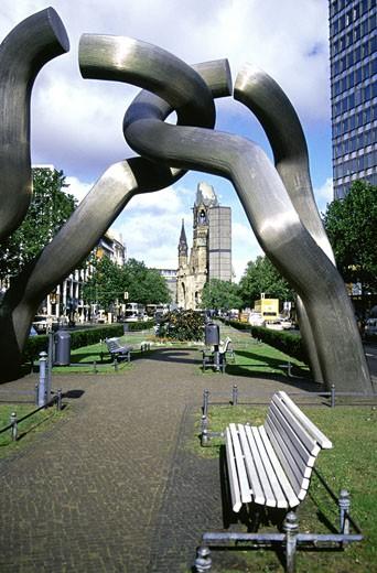 Close-up of a sculpture, Kaiser Wilhelm Memorial Church, Kurfurstendamm, Berlin, Germany : Stock Photo