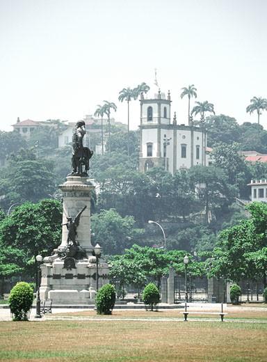 Statue in front of a church, Rio de Janeiro, Brazil : Stock Photo