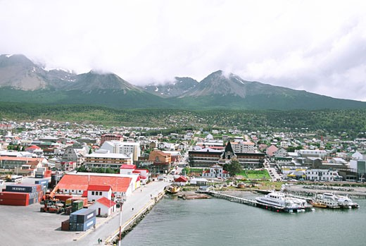 Panoramic view of a harbor, Ushuaia, Argentina : Stock Photo