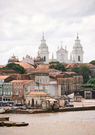 Cathedral and other buildings on waterfront, South America : Stock Photo