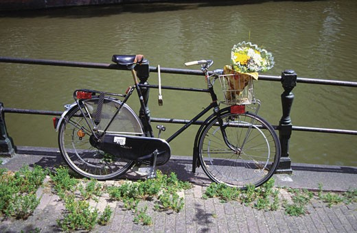 Bicycle with a basket and bouquet of flowers parked against a railing, Netherlands : Stock Photo