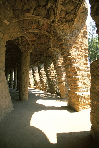 Arches in a building, Parc Guell, Barcelona, Spain : Stock Photo