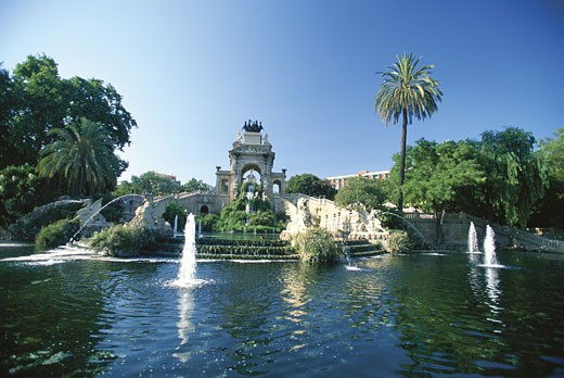 Fountains in a park, Ciutadella, Barcelona, Spain : Stock Photo