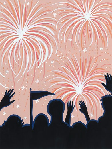 Stock Photo: 1598R-21406 Crowd watching fireworks