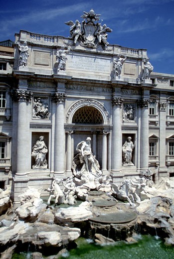 Facade of Trevi Fountain, Rome, Italy : Stock Photo