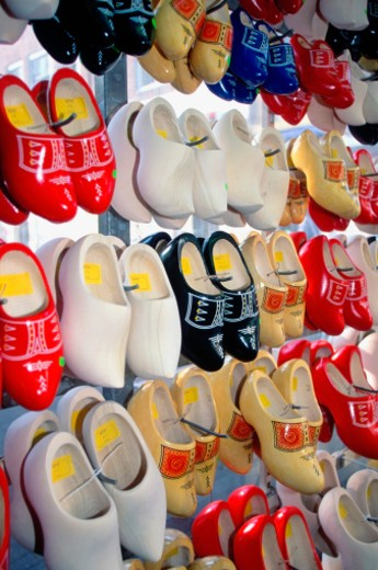 Clogs hanging on the wall at a store, Amsterdam, Netherlands : Stock Photo