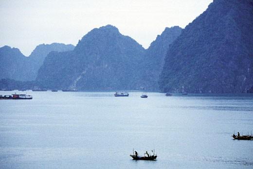 High angle view of fishing boats, Halong Bay, Vietnam : Stock Photo