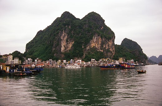 Stock Photo: 1598R-216224 Village on a waterfront, Halong Bay, Vietnam