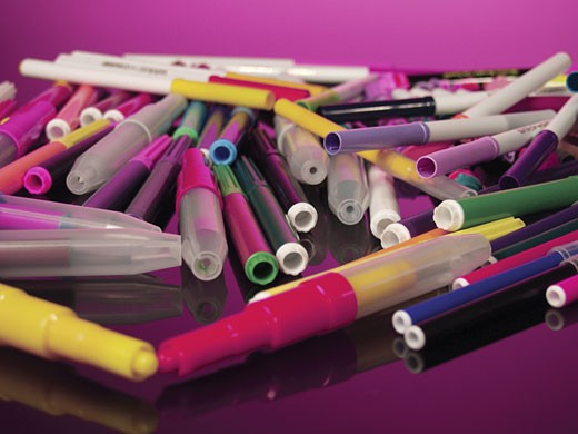 Stock Photo: 1598R-216694 Group of coloured pens