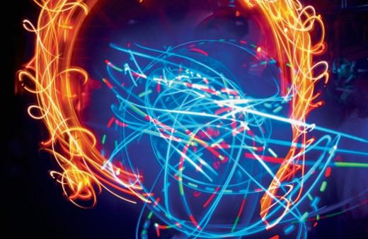 Illuminated fiber optic electric light in a nightclub : Stock Photo