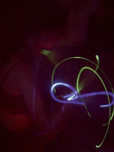 Stock Photo: 1598R-217322 Fiber optics lights in motion