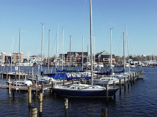 Yachts moored at a dock : Stock Photo