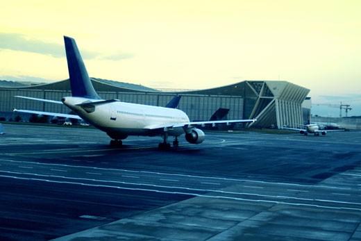 Airplane at a runway : Stock Photo