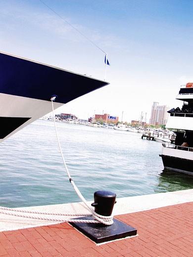 Boat anchored at a harbor : Stock Photo