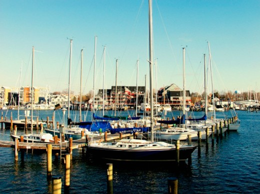 Sailboats docked at a harbor : Stock Photo