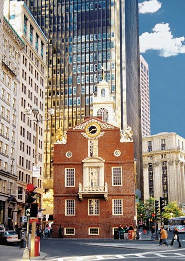 Stock Photo: 1598R-218474 The Old State House in Boston, Massachusetts, USA
