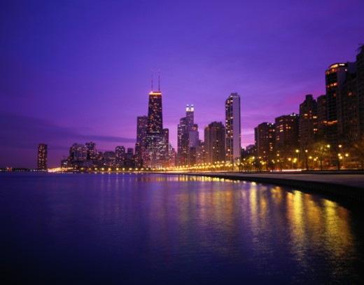USA, Illinois, Chicago skyline and Lake Michigan, night : Stock Photo