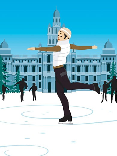 Young woman ice skating, standing on one leg, arms outstretched : Stock Photo