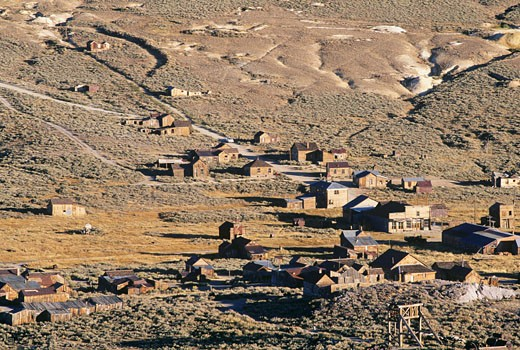 USA, California, Bodie State Historic Park, Gold Mining Ghost Town , elevated view : Stock Photo