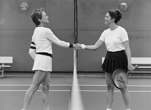 Tennis Players Shaking Hands at the Net : Stock Photo