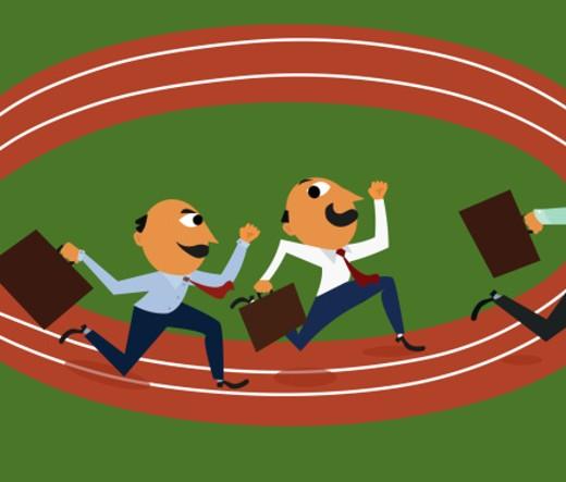 Businessmen running around track : Stock Photo
